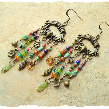 Boho Gypsy Assemblage Earrings, Colorful Bohemian Jewelry, Rustic Earthy Chandelier Earrings, Boho Style Me, Kaye Kraus