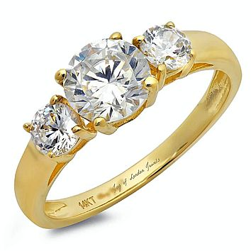 14K Yellow Gold Round Cut Russian Lab Diamond Journey Three Stone Ring