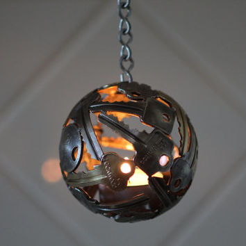 Mini key ball tea light, Key sphere, Metal sculpture ornament, Hanging tea light holder