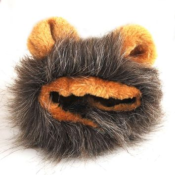 Lovely Wool Fiber Animal Shaped Mane Lion Hair Ears Head Cover Cap for Cat Small Dog Pet Costume Hat Cosplay Props Wigs Clothes