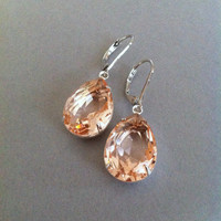 Pink Champagne Teardrop Glass Jewel Earrings