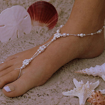 The Princess Bride Barefoot Sandal II - Simply Elegant  Swarovski Crystals, White Pearls and Silver Beads