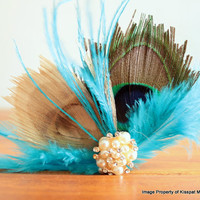 Blue Hair Fascinator,Pecock Feather Hair Accessory,Handmade Feather Hair Clips,Bridal Party Hair Pieces