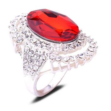 White Gold Plated Oval Crystal Engagement Ring