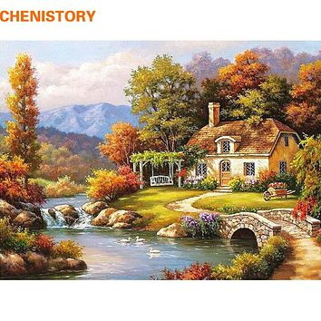 CHENISTORY Fairyland Landscape DIY Painting By Numbers Kits Drawing Painting By Numbers Acrylic Paint On Canvas For Room Artwork
