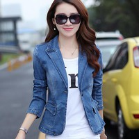 Women Blazers Plus Size XXXL Ladies Oversized Long Sleeve Denim Jacket