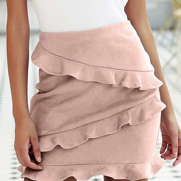 Pastel Zip Back Layered Ruffle Suede Skirt