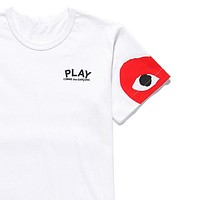 PLAY Tide brand cotton round neck heart men and women half sleeve t-shirt white