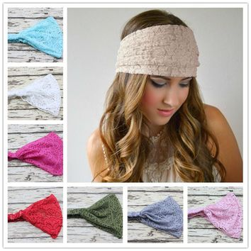 New Stretchy Wide Lace Head Band for Girl and Woman Hair Wide Turban Headwrap Women Bandanas Headband 1pc