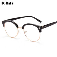 Stylish Designer Fashion Eyeglasses For Men And Women New Vintage Classic Half Horn Rimmed Frame Semi-Rimless Clear Lens Glasses