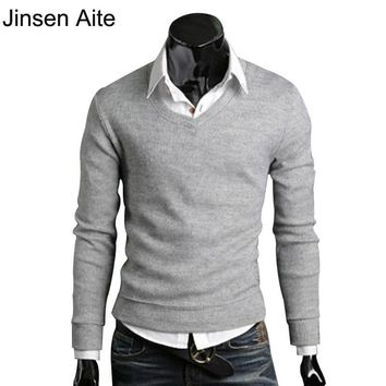 Winter&Autumn 2017 Mens Sweaters British Style Vintage Fit Slim Sheer Fashion V-Neck Men Brand Cashmere Pullover Camisola 0573