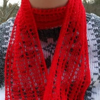 Cashmere Hand Knit Lace Scarf