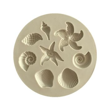 3D Seashells starfish conch shape silicon mold fondant chocolate cake decoration mold
