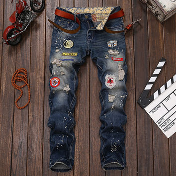 Men Jeans Ripped Biker Hole Denim robin patch Harem Straight punk rock pacthwork jeans for men Pants