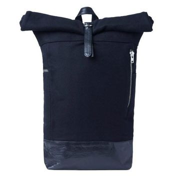 Navy Wool Leather Hybrid Backpack by MKI