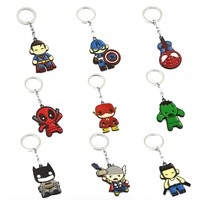 Avengers Keychain Thor Captain America Hulk The Flash Deadpool Batman Key Ring Holder Chaveiro Car Key Chain Pendant Jewelry