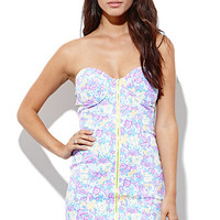 Reverse Neon Floral Zip Up Dress - Womens Dress - Purple - Small