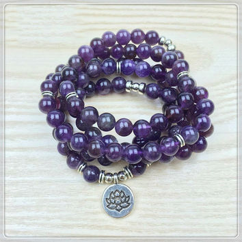 108 Mala Bracelet or Necklace with Amethyst Beads and Charm