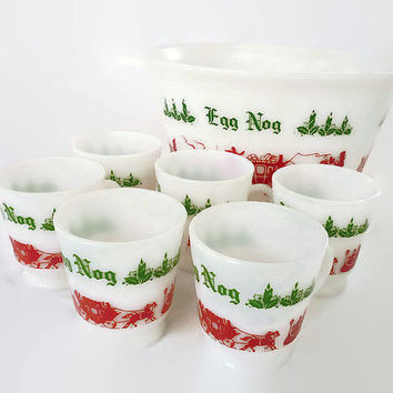 Unsigned Anchor Hocking, Punch Bowl, Mugs Cups, Milk Glass, Egg Nog, Victorian Style, Christmas Holiday, Vintage Kitchen, Home Decor