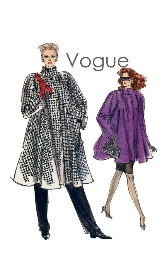 80s Flared Swing Coat Pattern Vogue 7322 From Design