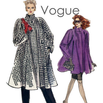 80s FLARED SWING COAT Pattern Vogue 7322 Standing Collar Coat Size 8 10 12 Bust 31.5 32.5 34 Very Easy Vogue Women's Vintage Sewing Patterns