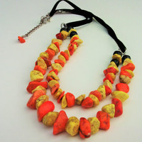 Chunky Orange Necklace, Chunky Yellow Necklace, Gift Idea Women, Bib Necklace, Orange Jewelry, Statement Necklace, Multi Color Bead Necklace