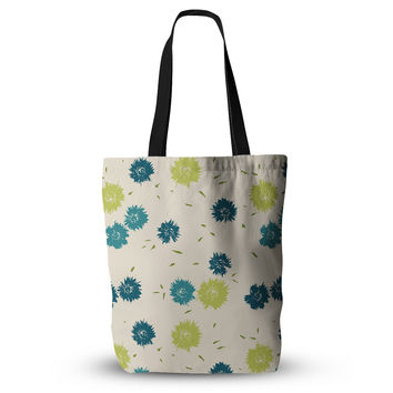 "Gukuuki ""Blue Mollie"" Teal Beige Everything Tote Bag"