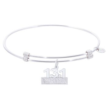 Sterling Silver Alluring Bangle Bracelet With Marathon 13.1 W/Diamond Charm