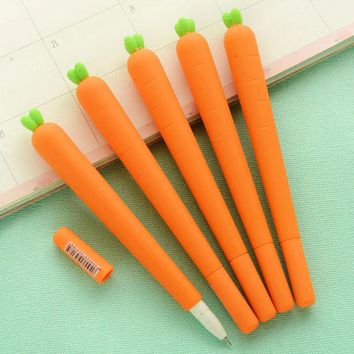 VONC1Y 0.5mm Creative Carrot Gel Pen Cute Kawaii Silica Gel Pen For Kids Novelty Item Korean Stationery Free Shipping 2156