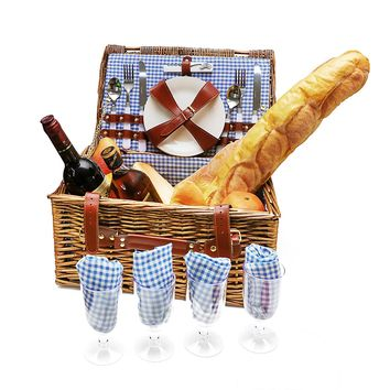 Wicker Picnic Basket 4 Person Set Includes Plates Spoons Knives Glasses Napkins