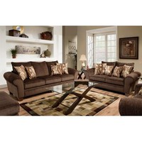 Chelsea Jewel Two Piece Living Room Set In Envy Godiva/Provocative Brown