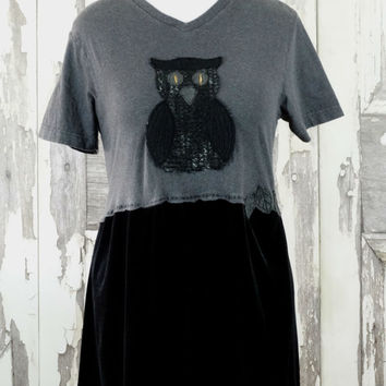 Women's Goth Owl Dress Grey T-shirt Top Black Stretch Velvet Skirt Dark Fairy Upcycled Clothing Eco Fashions in Medium