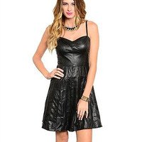 Ark and Co Shiny Black  Faux Leather Flare Skirt Spaghetti Strap Dress