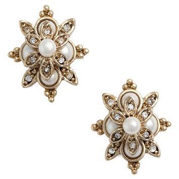 Marchesa Faux Pearl & Crystal Earrings | Nordstrom