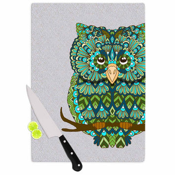 "Art Love Passion ""Great Green Owl"" Teal Gray Cutting Board"