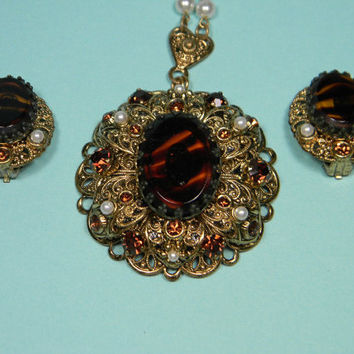 Ornate Gold Tone and Brown West Germany Necklace and Earrings Set