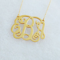 1 1/2 inch Gold Monogram Necklace,Personalized Monogram Charm Necklace,Monogram Initial Necklace,Nameplate Necklace,Christmas Gift Idea