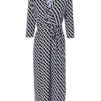 Black Geometric Print High Waist Faux Wrap Dress