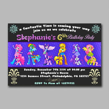 ADF 166 My Little Pony Equestria Kids Birthday Invitation Party Design