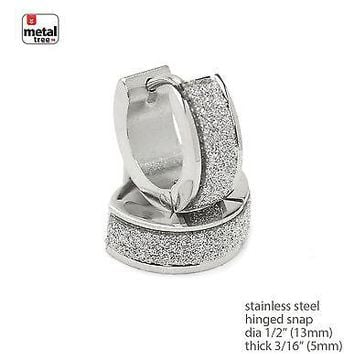 Jewelry Kay style DJ Fashion Stainless Steel Huggie Hoop Hinged Snap Men's Earrings SSHE 023 S