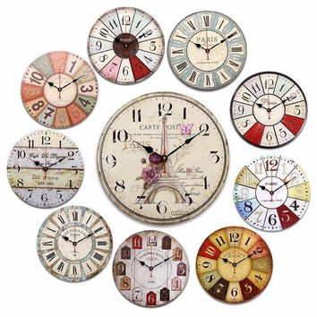 Round Large Wooden Wall Clock Vintage Colorful Clock Battery Rustic Shabby Home Decoration