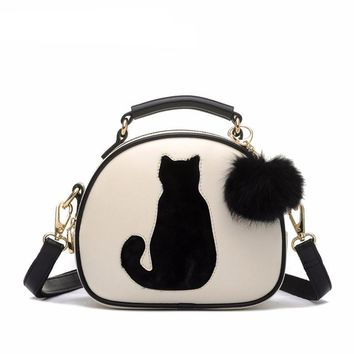 Crossbody Faux Leather Cat With Fur Ball Bag