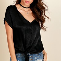 Knot Your Girl Satin Knot Top Black