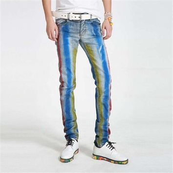 Version Slim Feet Straight Tube Painted Print Jeans Mens Waist Pants Plus Big Yards