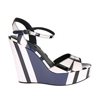 Multicolor Striped Leather Wedges Sandals