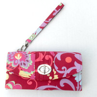 iPhone Accordion Style Wallet / Wristlet / Clutch with Detachable Strap / Flap with Twist Lock Closure / Amy Butler / Ready to Ship