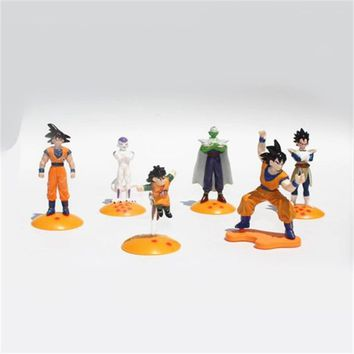 Random 5pcs 4-6cm Japanese Anime Dragon Ball Z Goku Picollo Daimao Vegeta Gohan Action Figure Assemable Figurine Model Kids Toys