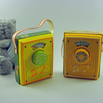 Two Fisher Price Music boxes pocket Radio Toy by vtgcharleys1