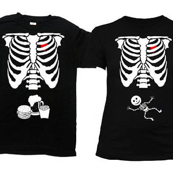 Pregnant Skeleton Shirt Halloween Outfits Expecting Dad Matching Couples T Shirt Mom To Be Ribcage Burger Fries Beer Baby Boy - SA844-378