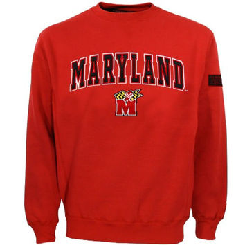 Maryland Terrapins Red Automatic Crew Sweatshirt